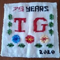 Gail Henson of Mountsorrel Guild (75 this year) knitted this square representing what TG means to her. The square plus 48 others, will be used to make a wall hanging at the Memorial Hall.