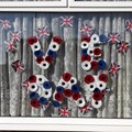 Marilyn Webb from Uplands and District Guild made 45 red, blue and white poppies for her VE day window display!